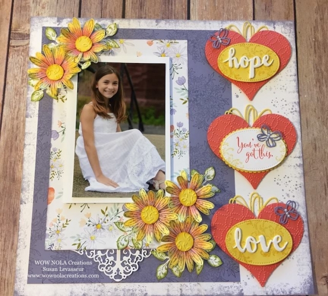 scrapbooking, layout, daisy, flowers, daisy delight, timeless textures, awesomely artistic, you've got this, sunshine wishes,