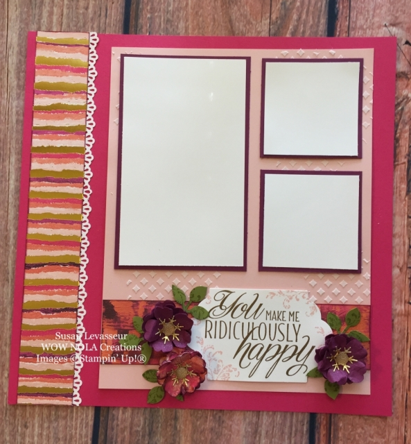 Susan Levasseur, WOW NOLA Creations, Lovely Friends Scrapbook Layout, Stampin' Up!