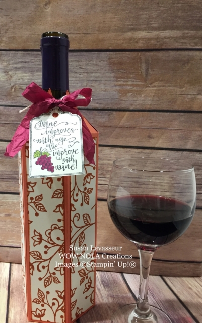 Susan Levasseur, WOW NOLA Creations, Wine Bottle Cover, Stampin' Up!