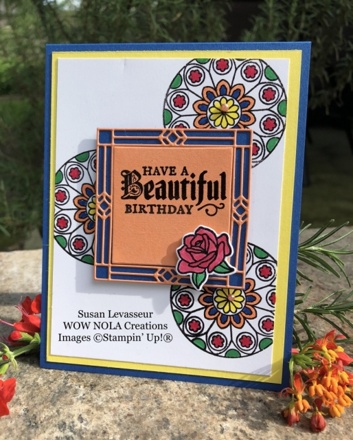 Susan Levasseur, WOW NOLA Creations, Beautiful Birthday, Painted Glass, Stampin' Up!