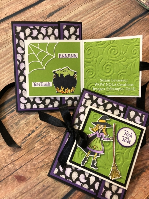 Susan Levasseur, WOW NOLA Creations, Cauldron Bubble, Fancy Fold Halloween Card, Stampin' Up!