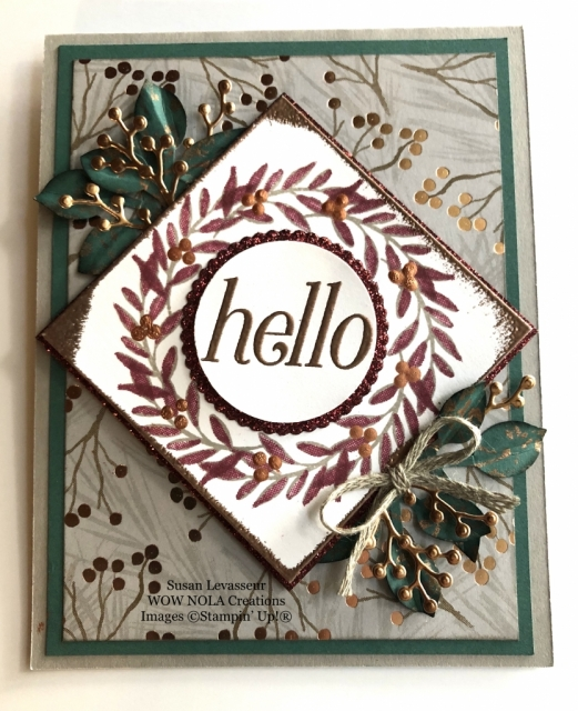 Susan Levasseur, WOW NOLA Creations, Peaceful Noel Wreath Card, Stampin' Up!