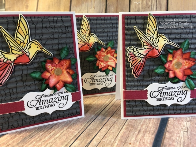 Susan Levasseur, WOW NOLA Creations, Crackle Paint Background Humming Along, Stampin' Up!