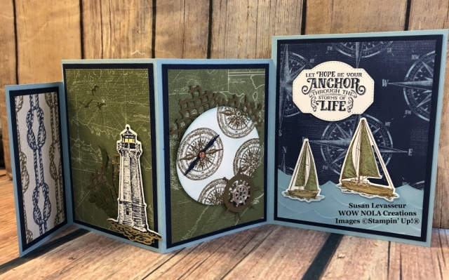 Sailing Home, Four Panel Fancy Fold, Susan Levasseur, Stampin' Up!