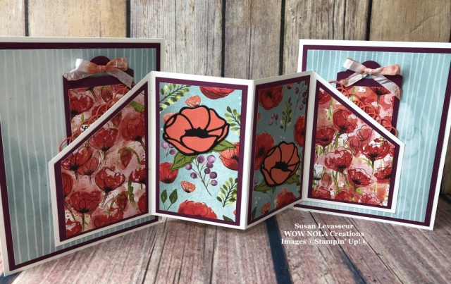 Peaceful Poppies Hidden Tags Fancy Fold, Susan Levasseur, WOW NOLA Creations, Stampin' Up!