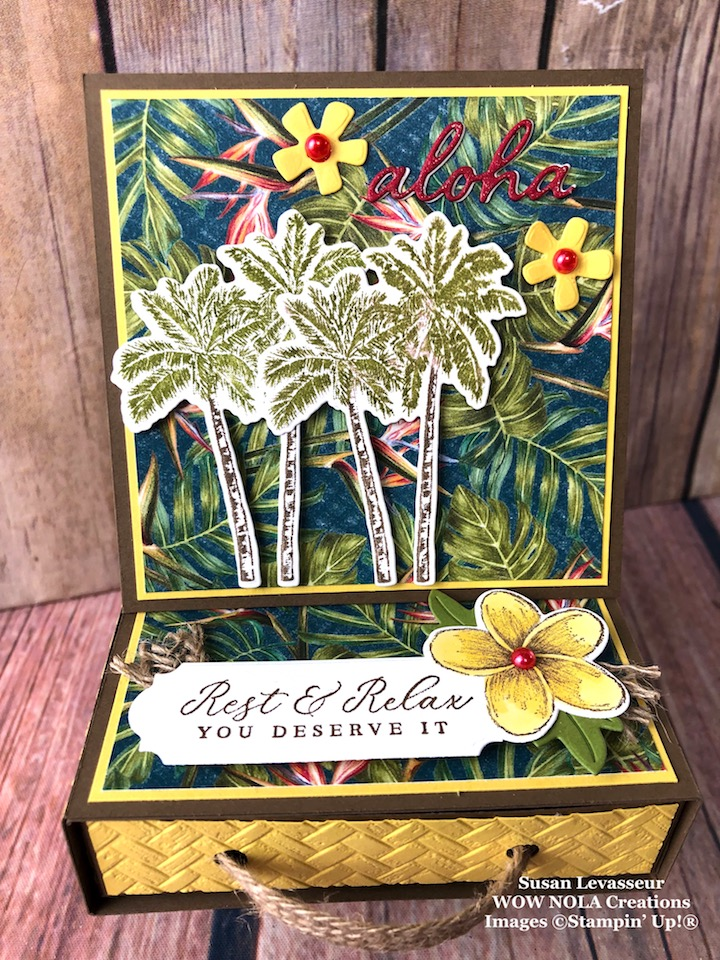 Tropical Oasis Easel Box Card with Drawer