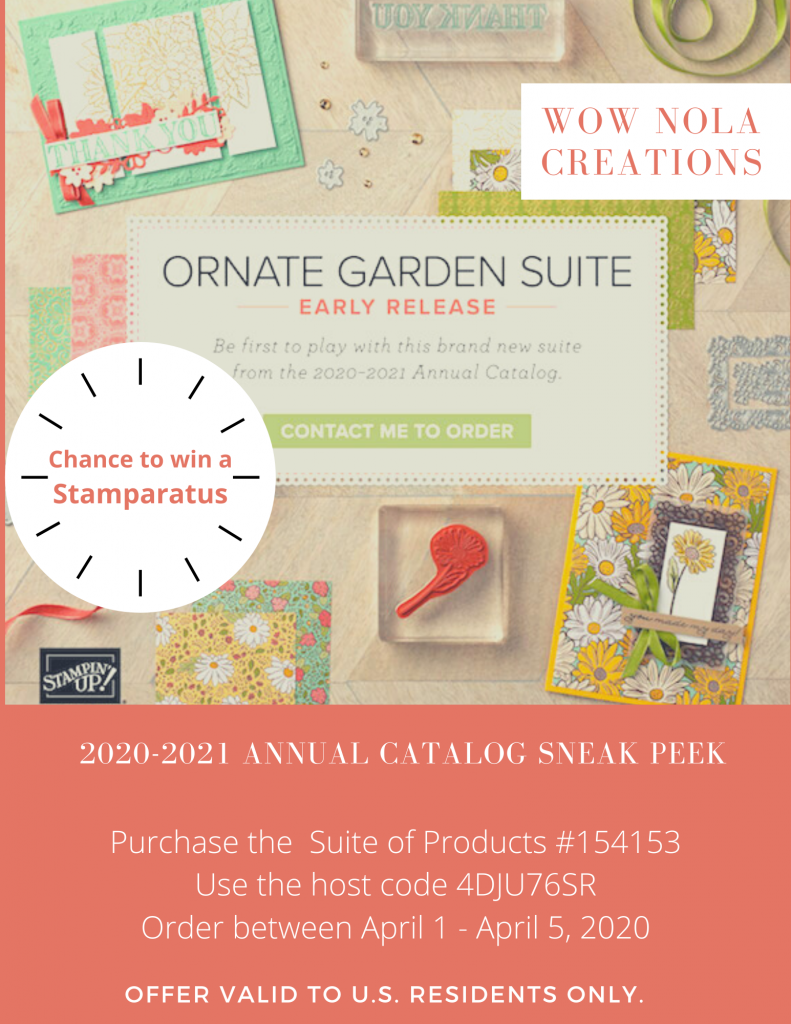 Ornate Garden Suite, Purchase Giveaway, Susan Levasseur, WOW NOLA Creations, Stampin' Up!