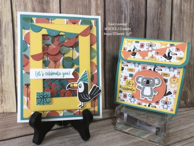 Bonanza Buddies Shaker Card & Treat Box, Susan Levasseur, WOW NOLA Creations, Stampin' Up!